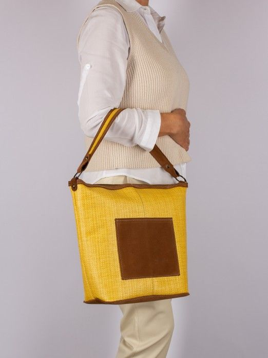 Suede and Raffia Shoulder Bag