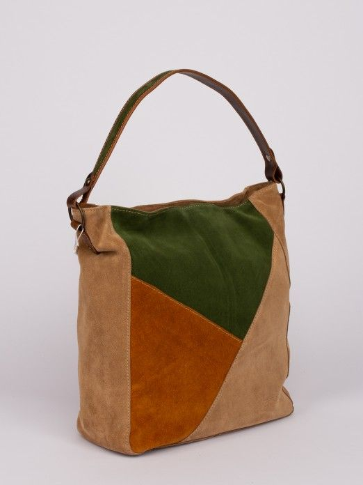 Geometric Tricolor Pattern Shoulder Bag
