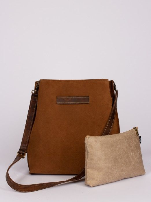 Suede Bag with Leather Pocket and Buckle