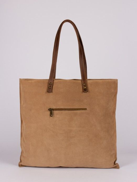 Suede and Natural Leather Tote Bag