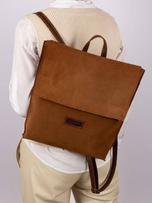Suede and Natural Leather Backpack