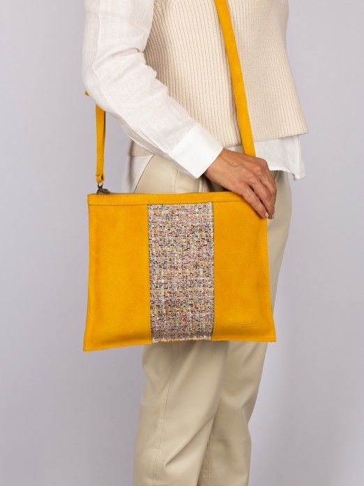 Suede and Textile Crossbody Bag