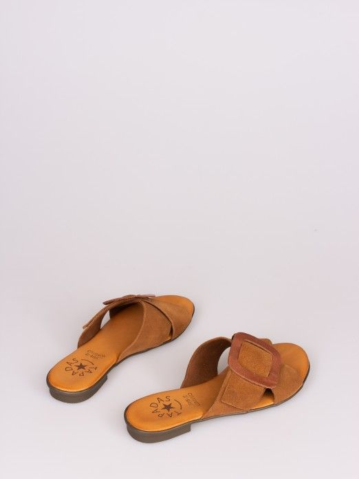 Crossed Slipper with Leather Buckle