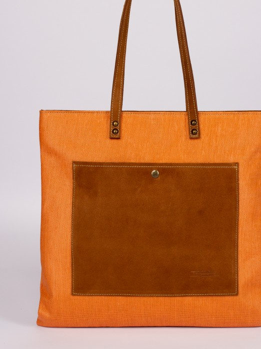 Raffia and Suede Tote Bag