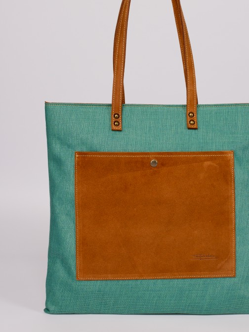 Raffia and Suede Tote Bag