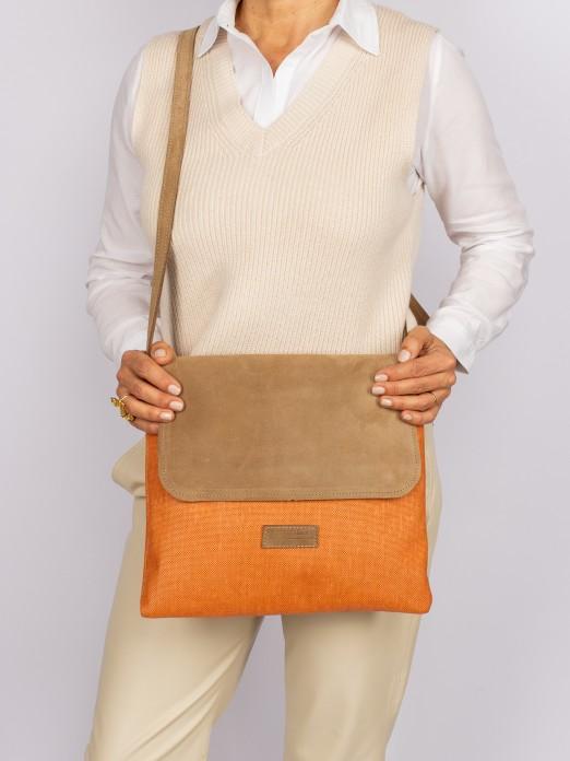 Suede and Raffia Crossbody Bag