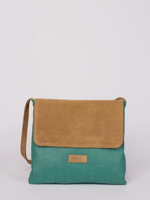 Suede and Raffia Crossbody Bag