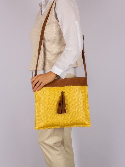 Tassel Application Crossbody Bag