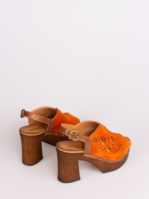 Embroidered Suede Sandal