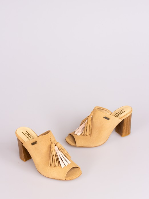 Suede Tassel-Embellished Mule