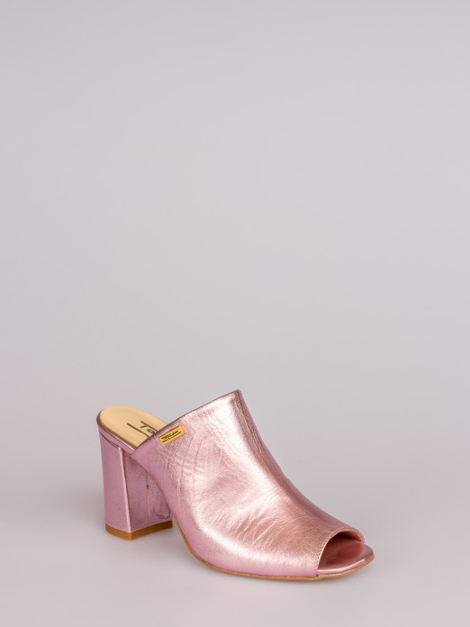 Laminated Leather Mule