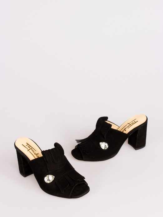 Suede Mule with Fringe