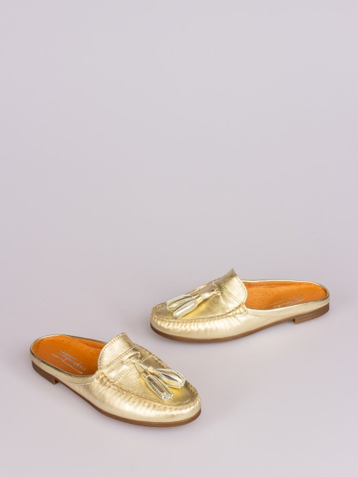 Leather Tassel-Embellished Mule