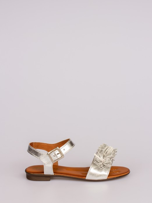 Flat Leather Sandals with Fringes