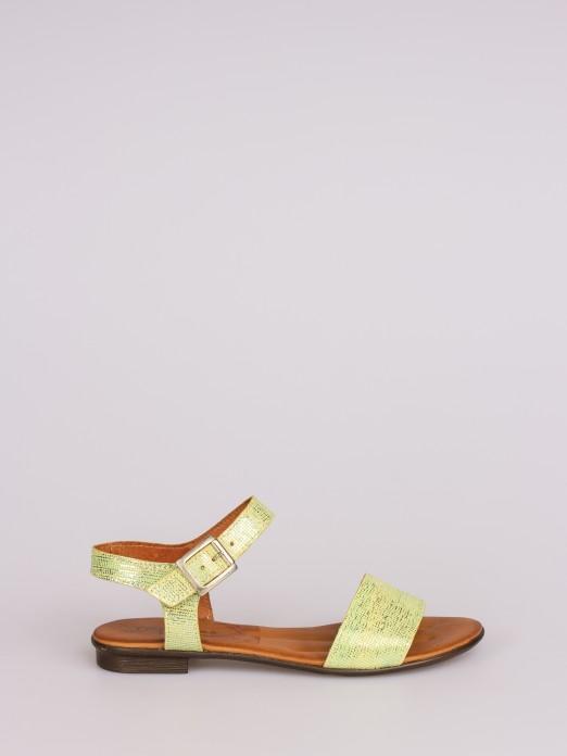 Laminated Leather Flat Sandal
