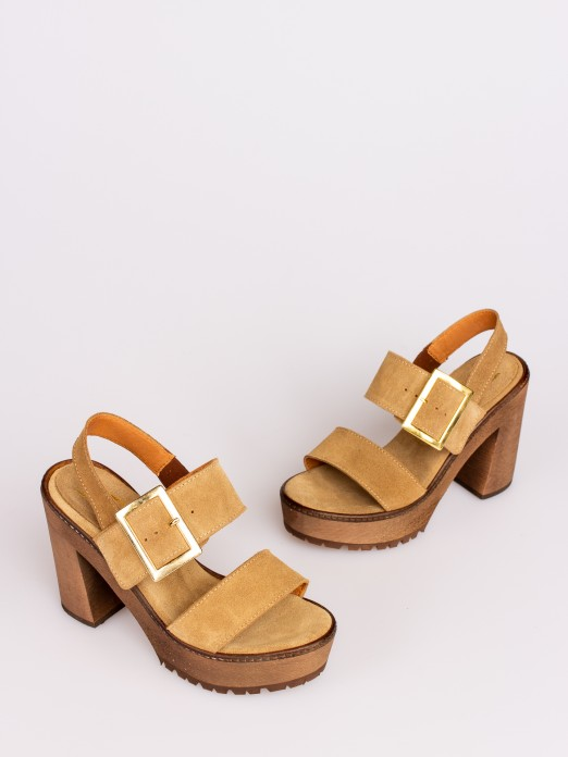 Suede Sandal with Buckle