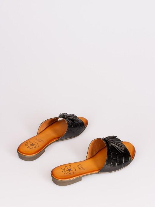 Croco Leather Slipper with Tassel
