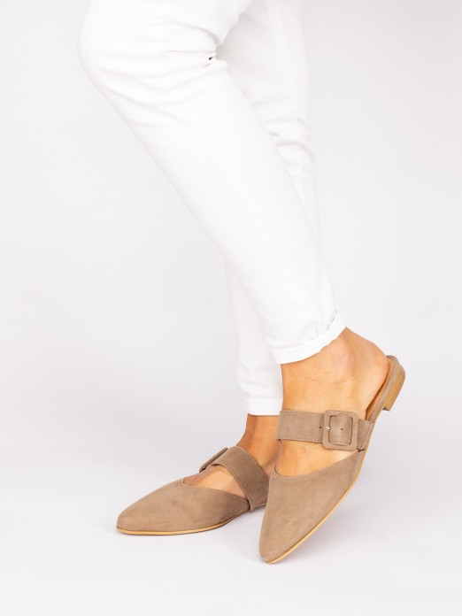 Mules with Suede Buckle