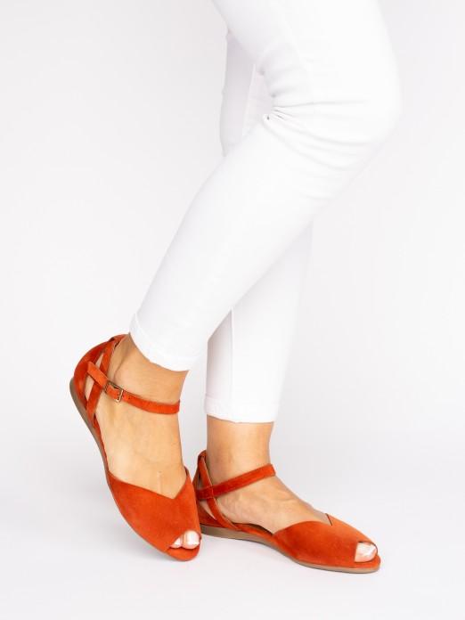 Suede Sandal Triangle Cut