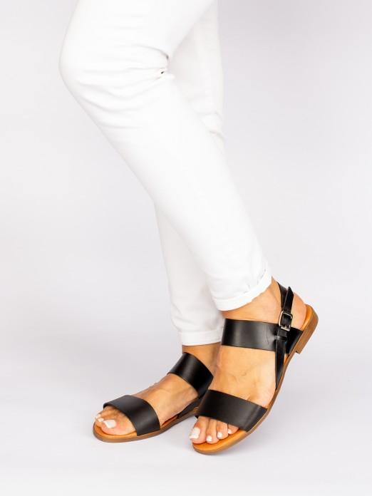 Sandália Bicolor em Pele
