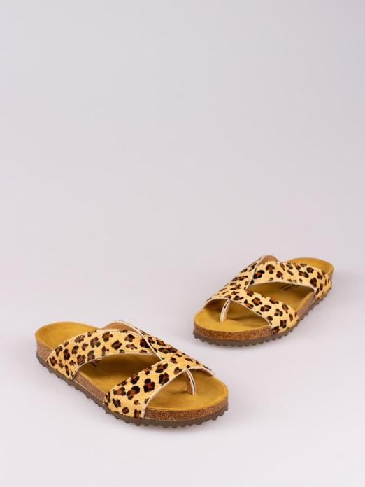 Chinela Bio Cruzada Padrão Leopardo