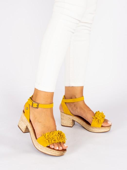 Suede Compensated Heel Sandals