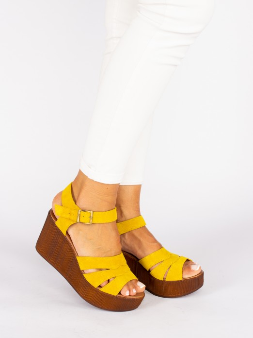 Suede Wedges with Cutouts