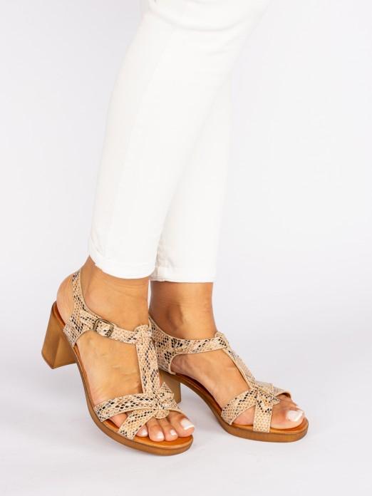 Animal-Print Wood Style Heel Sandals