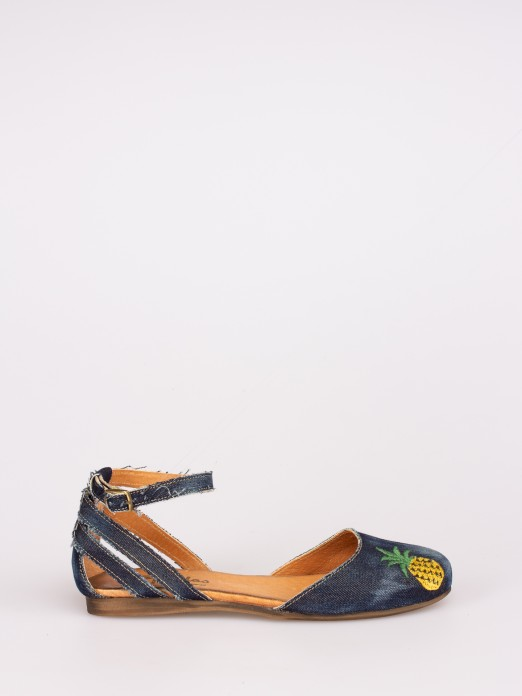Embroided Jeans Flat Sandals