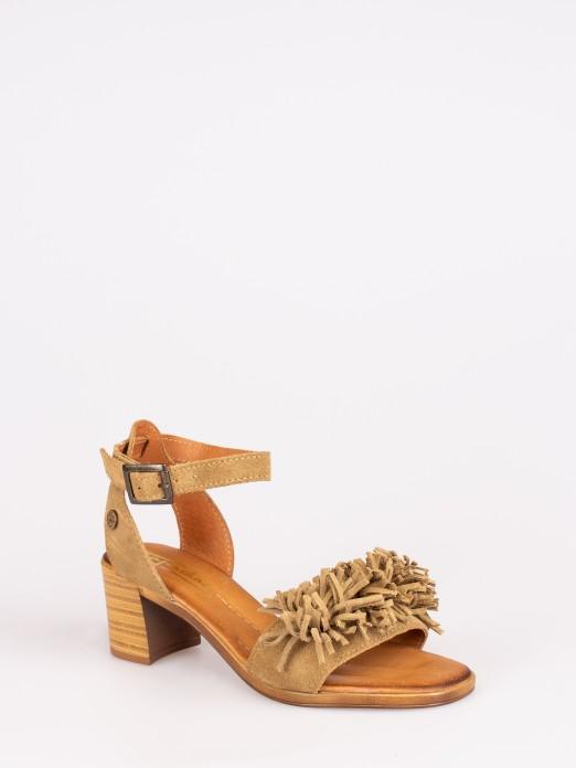 Suede Medium Heel Sandals