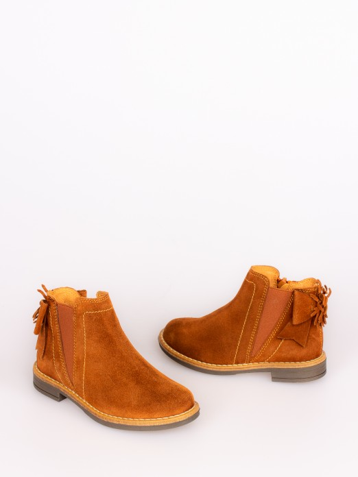 Suede Boots with Bow and Pompom
