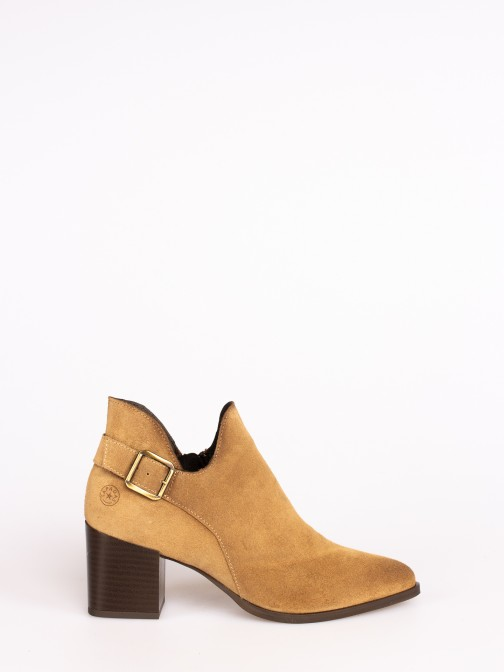 Suede Ankle Boots with Buckle