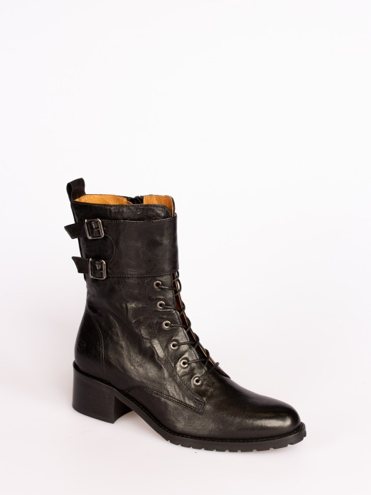 Leather Mid-calf Boots with Buckles