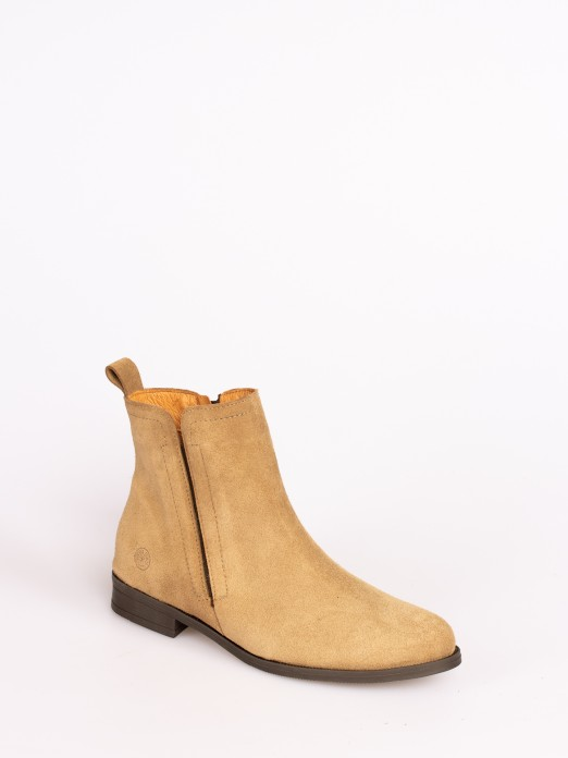Suede Ankle Boots with Elastic