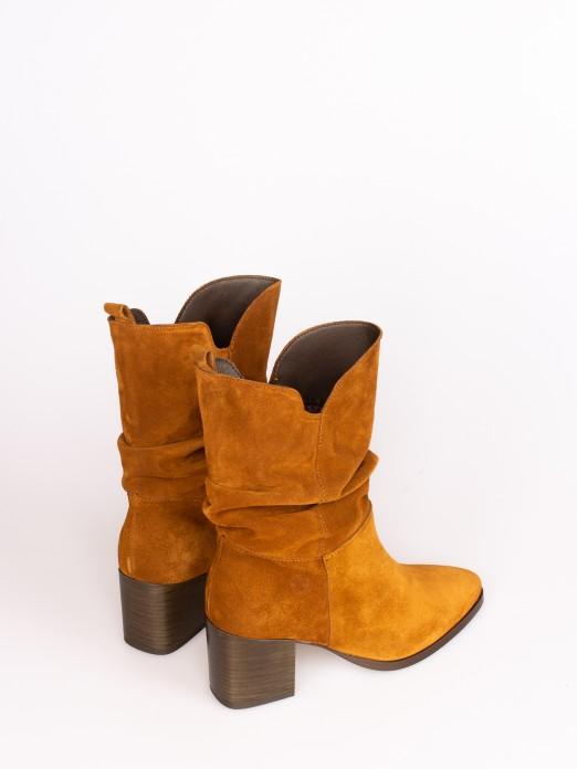 Wrinkled Suede High-heel Boots