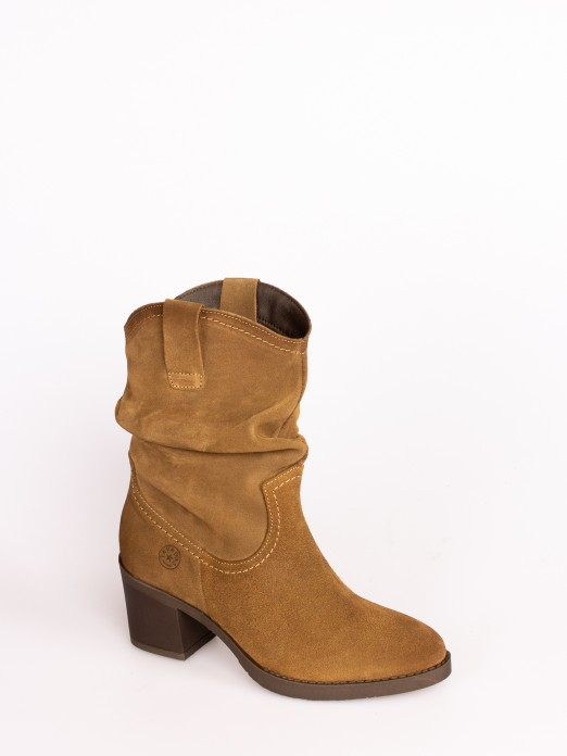 Wrinkled Leather High-heel Boots