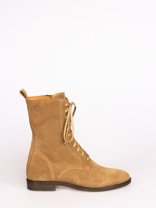 Suede Mid-calf Flat Boots