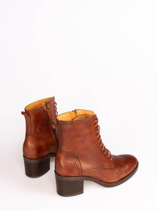 Leather High-heel Ankle Boot