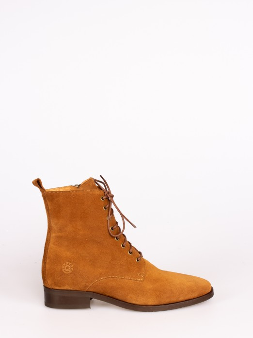 Suede Lace-up up Ankle Boots