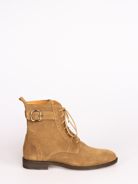 Suede Lace-up up Ankle Boots with Buckle