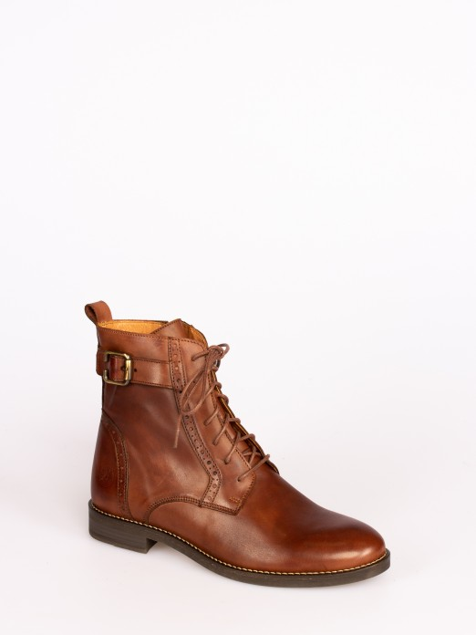 Leather  Lace-up up Ankle Boots with Buckle