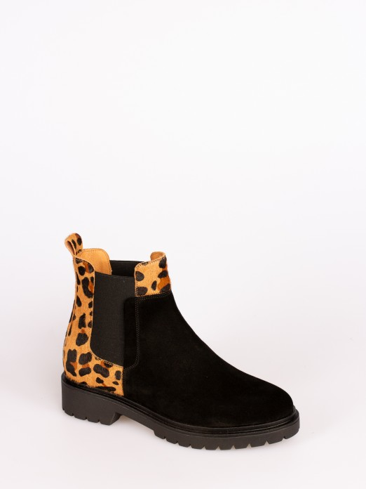 Animal-Print Suede Ankle Boots with Elastic