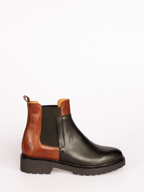Bicolor Leather Ankle Boots with Elastic