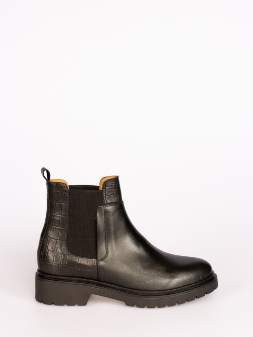 Croco and Smooth Leather Ankle Boots with Elastic