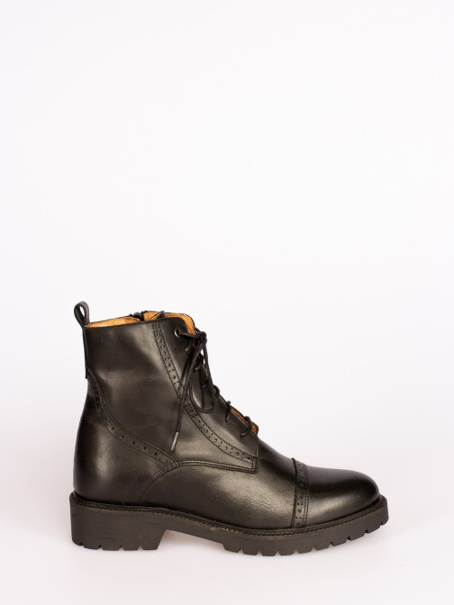 Leather Lace-up up Ankle Boots with Track Sole