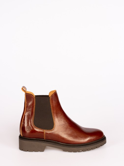 Polished Leather Ankle Boots with Elastic