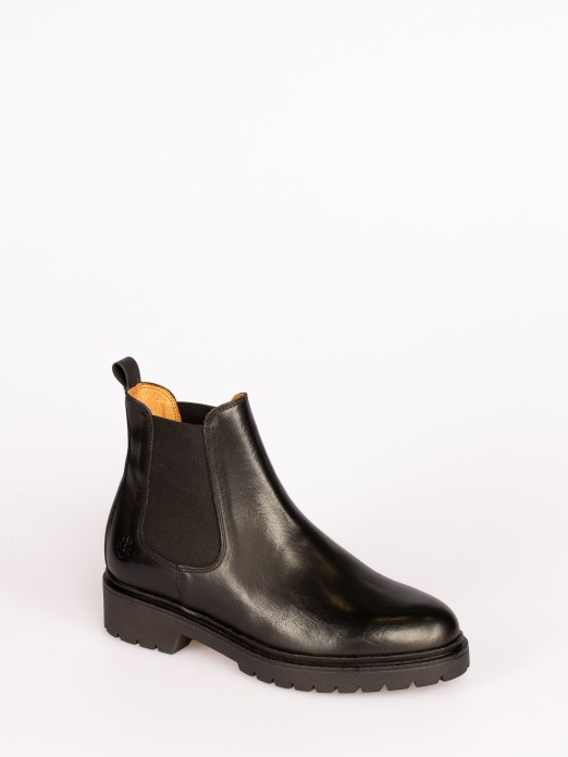Leather Ankle Boots with Elastic