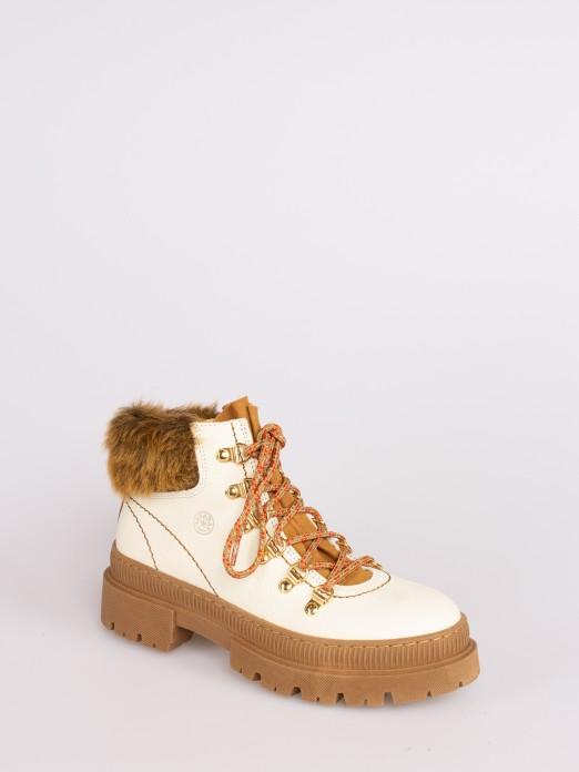 Faux Fur Trimmed Ankle Boots