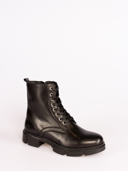 Leather Lace-up Track Sole Boots