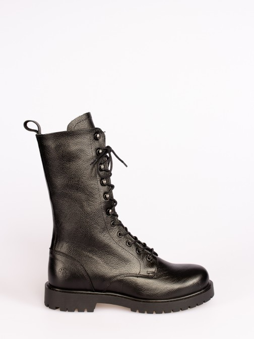 Leather Track Sole Mid-calf Boots